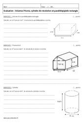 Volumes – 5ème – Contrôle – Prisme, cylindre de révolution et parallélépipède rectangle