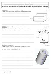 Prisme, cylindre de révolution et parallélépipède rectangle – 5ème – Evaluation sur les volumes