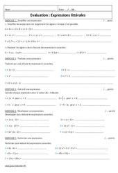 Simplifier, écrire, calcul, développer, factoriser – 5ème – Evaluation – Expressions littérales