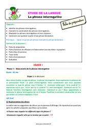 Les phrases interrogatives – Ce2 – Étude de la langue – Fiche de préparation
