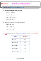 Calculs avec parenthèses - 5ème - Révisions - Exercices avec correction - Enchaînements d'opérations