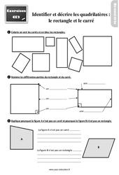 Exercices, révisions sur identifier et décrire les quadrilatères (rectangles et carrés) au Ce2 avec les corrections