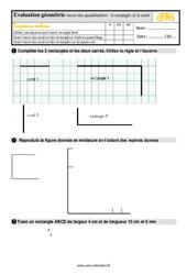 Évaluation, bilan sur tracer des quadrilatères: le rectangle et le carré au Ce2 avec la correction