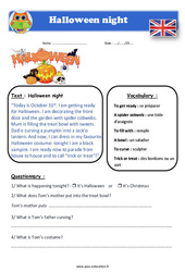 Halloween night – Cm1 – Cm2 – Anglais – Lecture – Level 3
