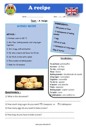 A recipe – Cm1 – Cm2 – Anglais – Lecture – Level 4