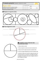 Évaluation, bilan sur identifier et décrire les cercles au Ce2 avec la correction
