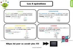 Leçon, trace écrite sur les 4 opérations au Ce2