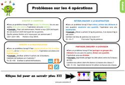 Leçon, trace écrite sur les problèmes sur les 4 opérations au Ce2