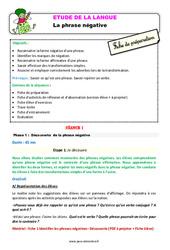 Les phrases négatives – Ce1 – Étude de la langue – Fiche de préparation
