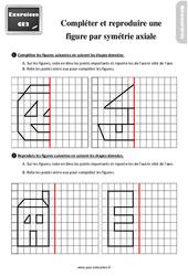 Exercices, révisions sur compléter et reproduire une figure par symétrie axiale au Ce2 avec les corrections
