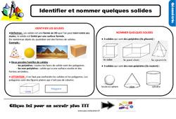 Leçon, trace écrite sur identifier et nommer quelques solides - Ce2