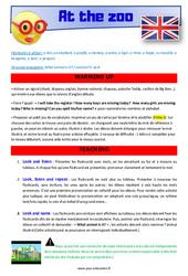 At the zoo – CM1 – CM2 – Anglais – Lexique – Séquence complète – Cycle 3