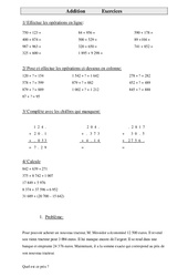 Addition – Cm2 – Exercices – Calculs – Mathématiques – Cycle 3
