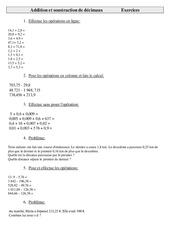 Addition et soustraction de décimaux  – Cm2 – Exercices – Calculs – Cycle 3