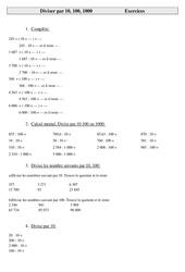 Mathématiques - Exercices sur le calcul en cm2 cycle 3: Diviser par 10 100 1000