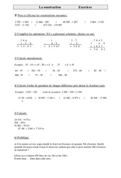 Soustraction  - Cm2 - Exercices - Calculs - Cycle 3