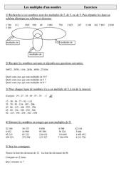 Multiples d'un nombre - Cm2 - Exercices - Calculs - Mathématiques - Cycle 3