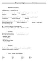 Pourcentages – Cm2 – Exercices – Gestion des données – Cycle 3