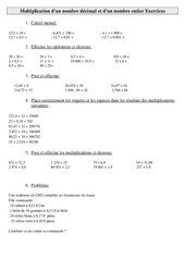 Multiplication d'un nombre décimal et d'un nombre entier  – Cm2 – Exercices – Calculs – Cycle 3
