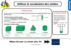 Leçon, trace écrite sur utiliser le vocabulaire des solides au Ce2