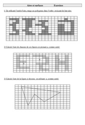 Aires et surface – Cm2 – Exercices – Mesures – Cycle 3
