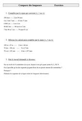 Comparer des longueurs – Cm2 – Exercices – Mesures – Cycle 3
