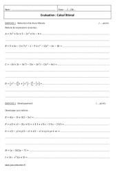 Calcul littéral - 4ème - Contrôle