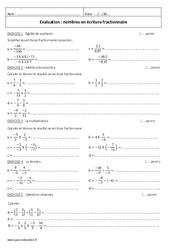 Nombres en écriture fractionnaire – 4ème – Contrôle