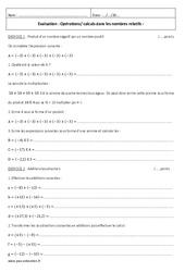 Opérations - Calculs dans les nombres relatifs - 4ème - Contrôle
