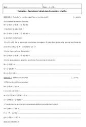 Nombres relatifs – 4ème – Evaluation à imprimer