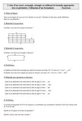 Aire d'un carré, rectangle, triangle en utilisant la formule appropriée – Cm2 – Exercices – Mesures – Cycle 3