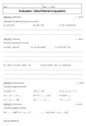 Calcul littéral et équations – 3ème – Contrôle