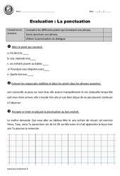 Signes de ponctuation - Ce2 - Evaluation à imprimer