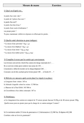 Mesures de masse – Cm2 – Exercices – Mesures – Cycle 3