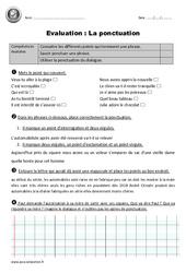 Ponctuation – Cm1 – Evaluation avec le corrigé