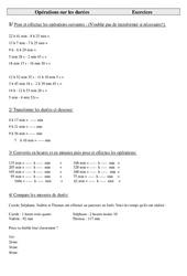 Opérations sur les durées – Cm2 – Exercices  – Cycle 3