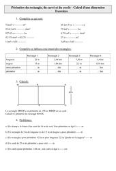 Périmètre du rectangle, du carré et du cercle – Calcul d'une dimension – Cm2 – Exercices – Mesures – Cycle 3