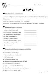 Verbe – Cm1 – Exercices à imprimer avec le corrigé