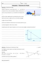 Théorème de Thalès – 3ème – Evaluation