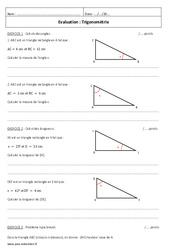 Trigonométrie – 3ème – Contrôle