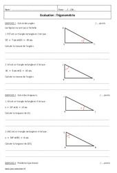 Trigonométrie – 3ème – Evaluation à imprimer