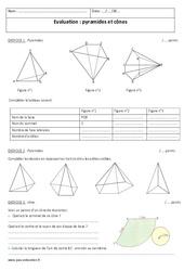 Pyramides et cônes – 4ème – Contrôle