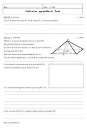 Cônes et Pyramides – 4ème – Evaluation