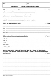 Orthographier les déterminants numéraux – 4ème – Contrôle