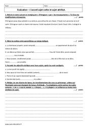 Accord sujet-attribut et sujet-verbe  – 4ème – Evaluation avec le corrigé