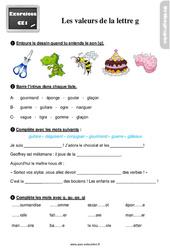 Exercices, révisions avec les corrections sur les valeurs de la lettre g – Ce1