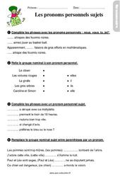 Pronoms personnels sujets – Ce1 – Étude de la langue – Exercices avec les corrigés