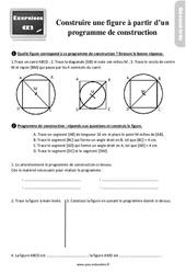 Exercices, révisions avec les corrections sur construire une figure à partir d'un programme de construction au Ce2