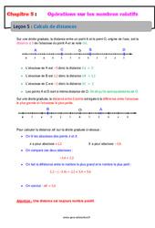 Calculs de distances – 5ème – Les nombres relatifs – Cours