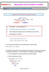 Soustraction de nombres relatifs – 5ème – Cours
